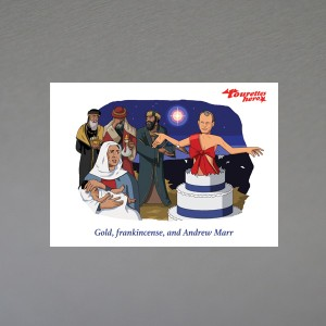"""Gold, frankincense and Andrew Marr"" christmas card"