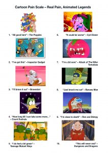 """A Cartoon Pain Scale from 1 – 10 1: """"All good here"""" The Popples – A group of colourful Popples with fuzzy tails and flappy ears cuddle together 2: """"I've got this"""" – Inspector Gadget looks confidently ahead as tools and gadgets emerge from his hat. 3: """"I'll brave it out"""" – Bravestarr sits on a rock looking resigned but calm, a desert with with a powder pink sky is in the background 4: """"How long till I can take some more…"""" – Count Duckula counting down time with a clock in the background 5: """"I do feel a bit green"""" – The four Teenage Mutant Ninja Turtles look uncertainly ahead a sewer is visible behind them 6: """"It could be worse"""" – A crotchety looking Cyril Sneer is on the phone looking tired and grumpy. 7: I'm a bit sore"""" – An Attack of The Killer Tomatoes Tomato takes up the whole picture with it's big raging mouth wide open 8: """"Just knock me out"""" – Banana Man hits himself over the head with a mallet 9: """"I'm close to death"""" –Stimpy from Ren and Stimy carries a sick looking ren 10: """"This will never end"""" – Dungeons and Dragons Dungeon master stands blocking a rope bridge looking straight ahead. """"I've got this"""" – Inspector Gadget """"I'll brave it out"""" – Bravestarr """"How long till I can take some more…"""" – Count Duckula """"I do feel a bit green"""" – Teenage Mutant Ninja Turtles """"It could be worse"""" – Cyril Sneer I'm a bit sore"""" – Attack of The Killer Tomatoes """"Just knock me out"""" – Banana Man """"I'm close to death"""" – Ren and Stimpy """"This will never end"""" – Dungeons and Dragons"""