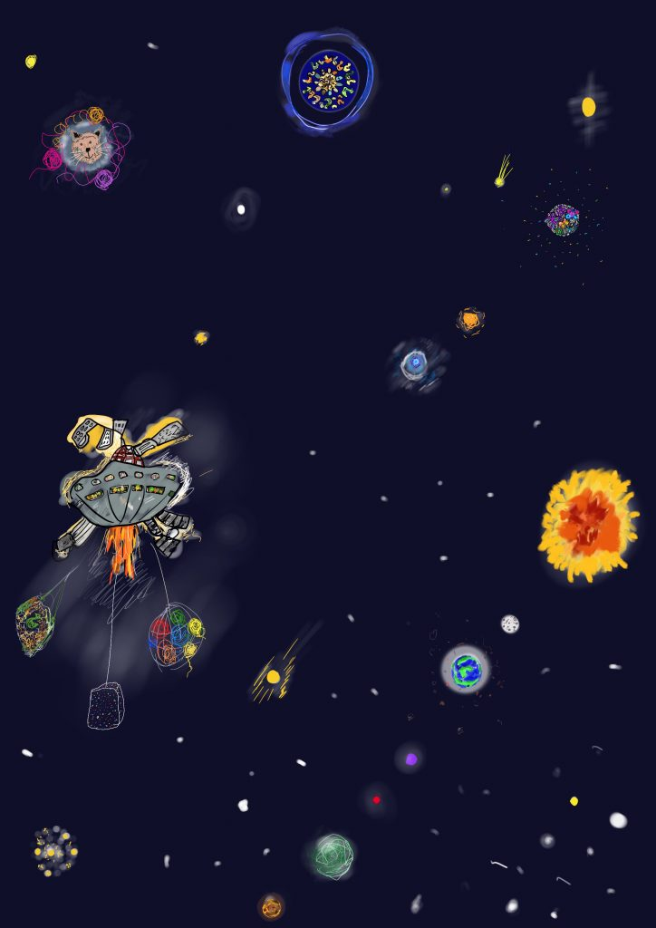 This is a drawing of outer-space. There are lots of different sized and coloured planets and stars. There is a grey space-ship flying through space. It has fire coming out of it and there are smiling people in the windows. One of the planets has the face of a smiling cat, one is blue and has lots of ducks on, and another is multi-coloured and made up of butterflies. There is also a yellow sun, and a planet that could be earth.