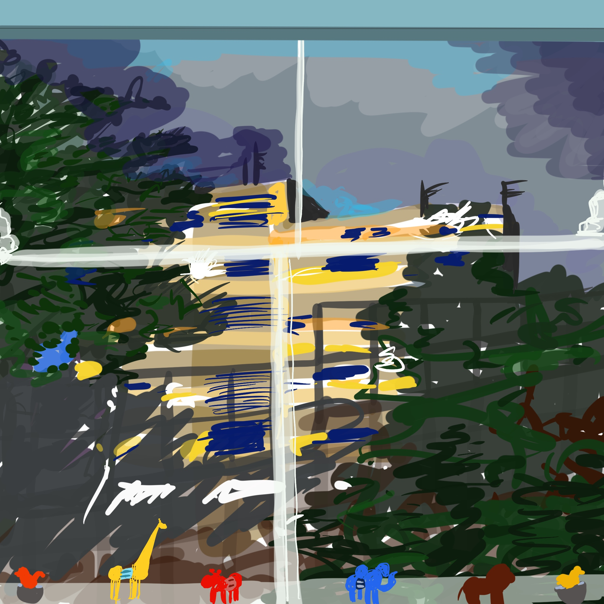 A digital painting of a view through my window. At the top is the sky made up of sweeping blues, greys and purples. At the centre is a block of flats lit up with warm sunshine yellow and flashes of bright white and dark blue. Swirls of green indicate trees to the left and right of the image and in the foreground six tiny, brightly-coloured animals sit on the window ledge.