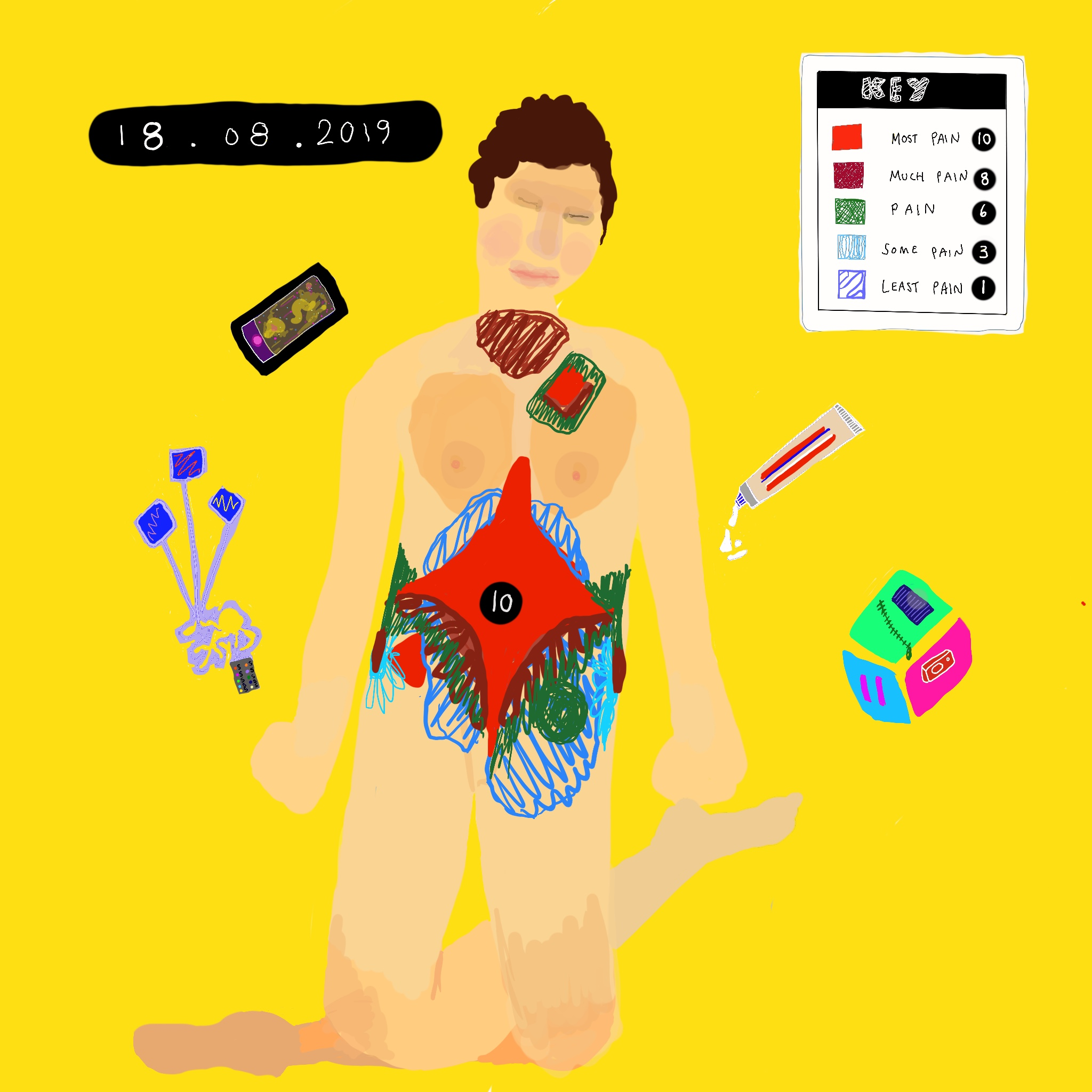 A digital painting of Touretteshero showing a colour-coded map of pain on Touretteshero's body. In top corner of the image, a key showing the intensity of the pain on a scale of 1 to 10 corresponding to a colour. Helpful objects surround her eg. phone, alarm and pain relief cream.