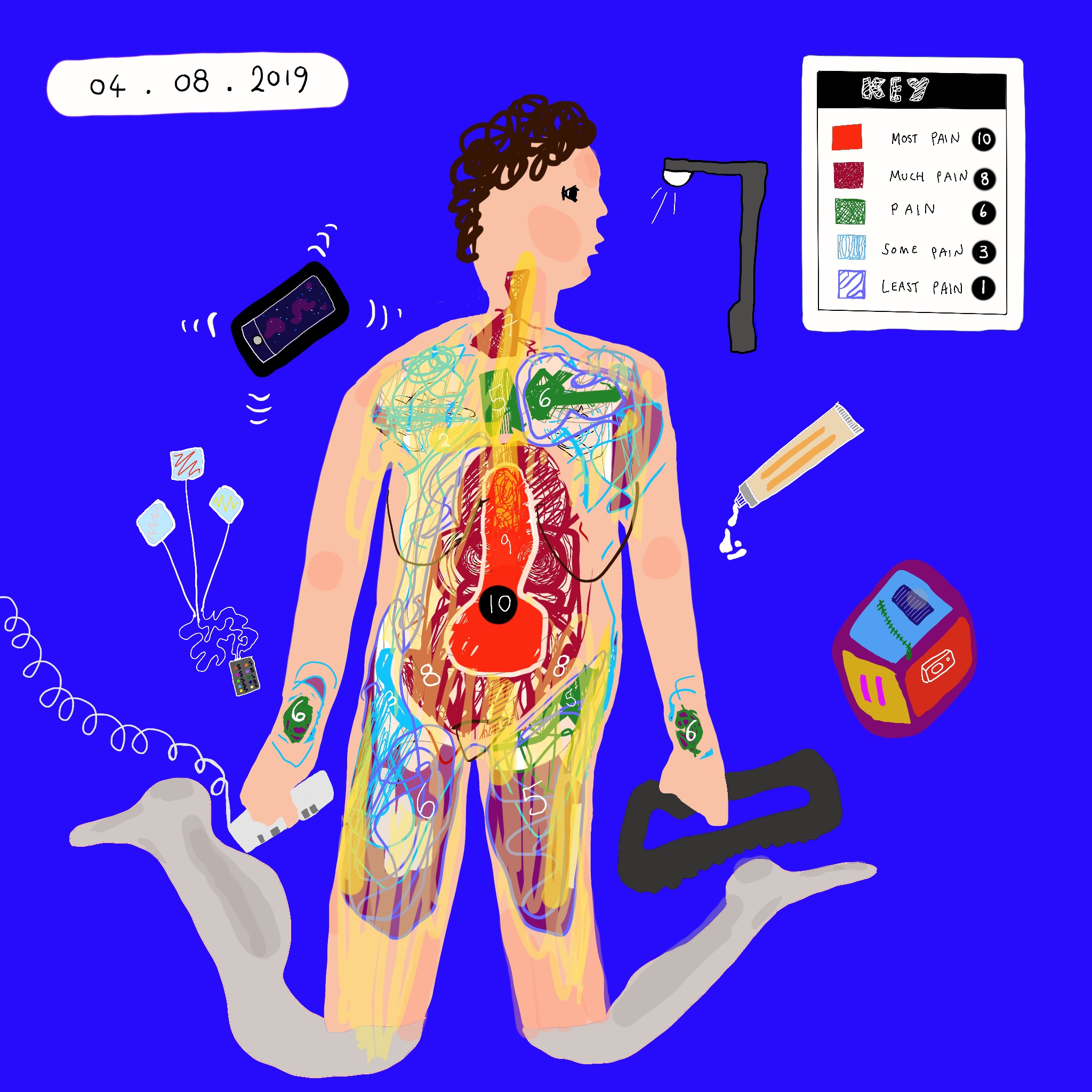 A digital painting of Touretteshero showing a colour-coded map of pain on Touretteshero's body. In top corner of the image, a key showing the intensity of the pain on a scale of 1 to 10 corresponding to a colour. In the top left corner of the image is the date (04.08.2019) . Helpful objects surround her eg. phone, alarm and pain relief cream and a lamppost. The pain is most severe in Touretteshero's lower torso but is also felt throughout the body including the wrists.