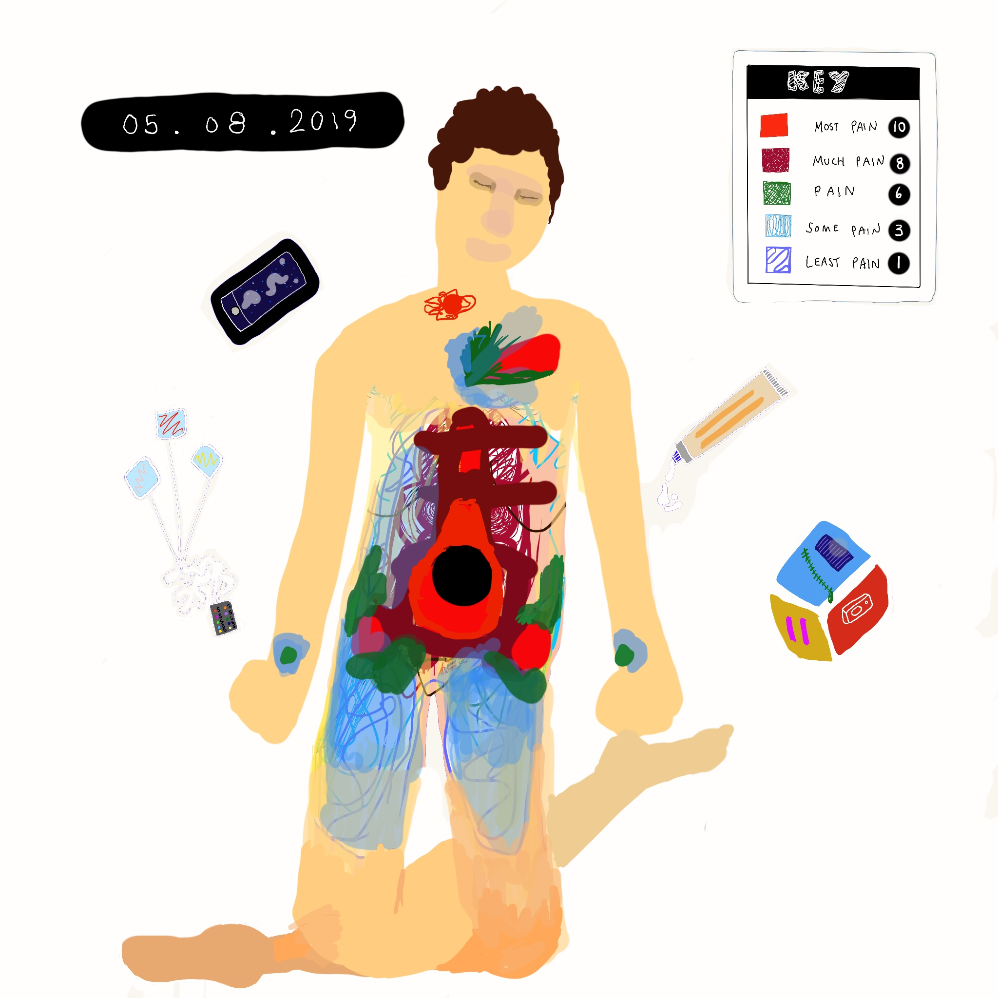 A digital painting of Touretteshero showing a colour-coded map of pain on Touretteshero's body. In top corner of the image, a key showing the intensity of the pain on a scale of 1 to 10 corresponding to a colour. Helpful objects surround her eg. phone, alarm and pain relief cream. The date is on the top left corner of the image 05.08.2019. Pain is shown around the body but less so in the chest than in the other images.