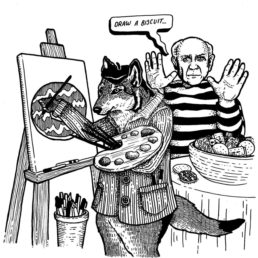 "A detailed black and white ink drawing of Picasso on the left wearing a striped jumper saying ""Draw a Biscuit"" to a wolf wearing a beret and painting a canvas of a chocolate biscuit. The canvas is on an easel and the wolf has a paint palette in hand."