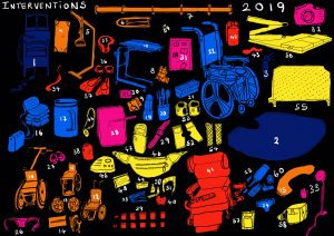 A digital hand drawing showing the outlines of sixty pieces of equipment, each coloured either Dark Blue, Orange, Light Blue, Pink, Red or Yellow. The Background is black and a number in white is next to each item. More info about each item is described below.
