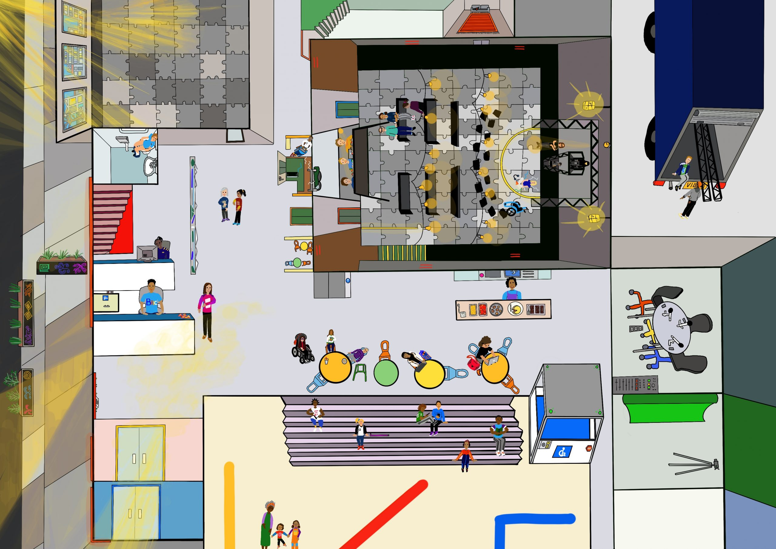 an incredibly detailed and colourful drawing of the layout of BRIC arts in Brooklyn featuring the performance space, chill-out space, dressing room, amphitheatre, main reception and loading dock out the back of the building.