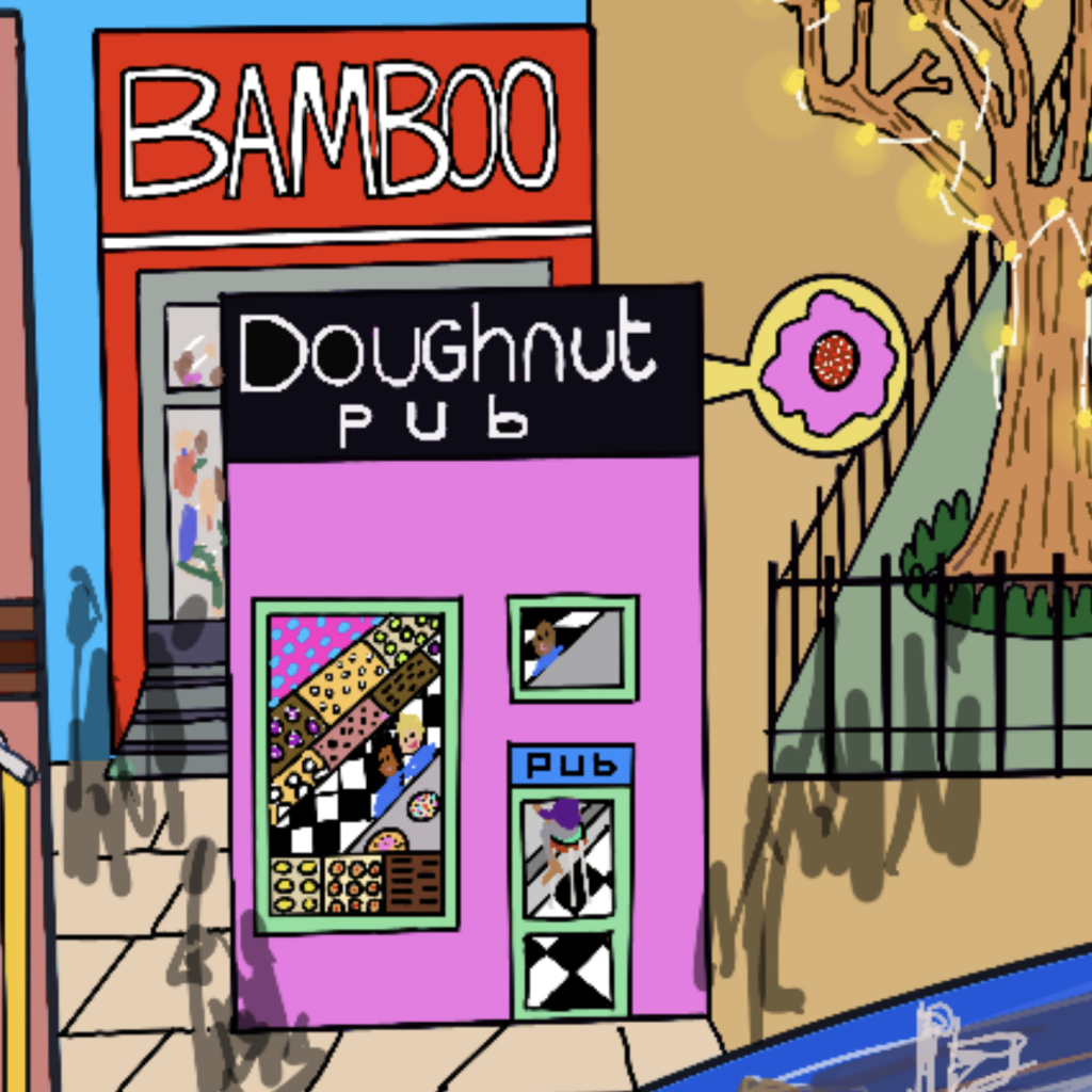 We ate a lot of great food! Leftwing Idiot's a vegan and when we're touring we often use an app called Happy Cow to direct us to places with good vegan options this drawing shows Red Bamboo - one of our favourites and the Doughnut Pub.