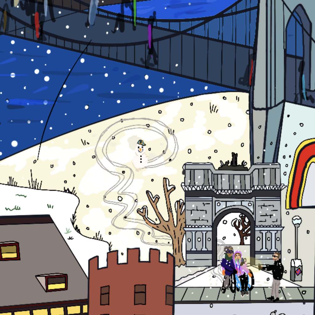 Our final weekend was super-snowy which I loved! It's amazing the way snow changes how the city sounds – everything was quieter and gentler. This detail shows a snowy day and Erik, Leftwing Idiot and I are in the foreground.