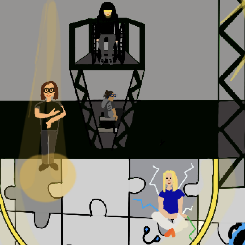 A detail of the team working at BRIC, it shows the Not I set with ASL performer Lindsey on the left and Jess Thom central on a raised platform. Her PA Claire is drawn on the right and Erik the production manager works in the background.