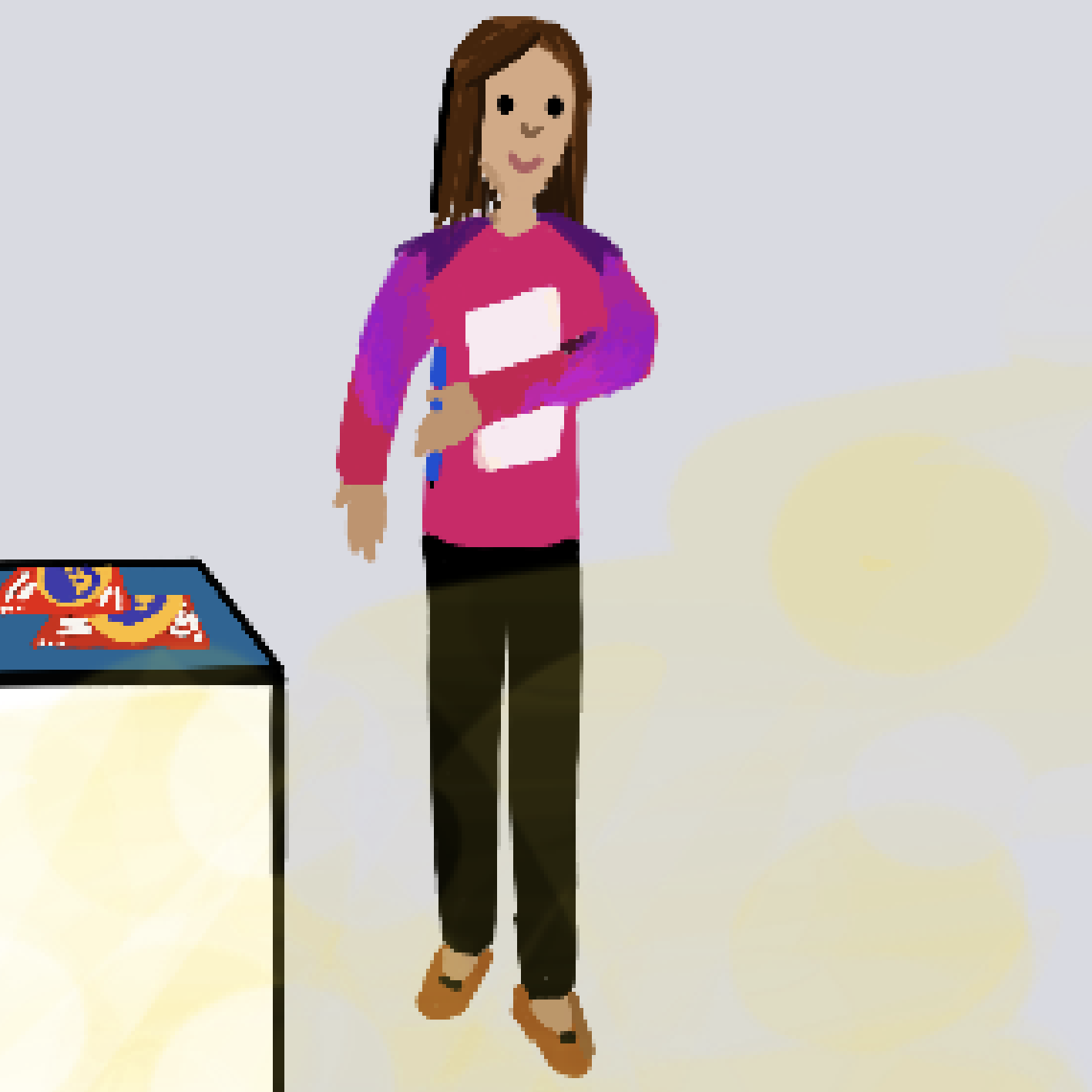A drawing showing BJ, producer at BRIC holding a pad of paper and wearing a bright pink sweater.