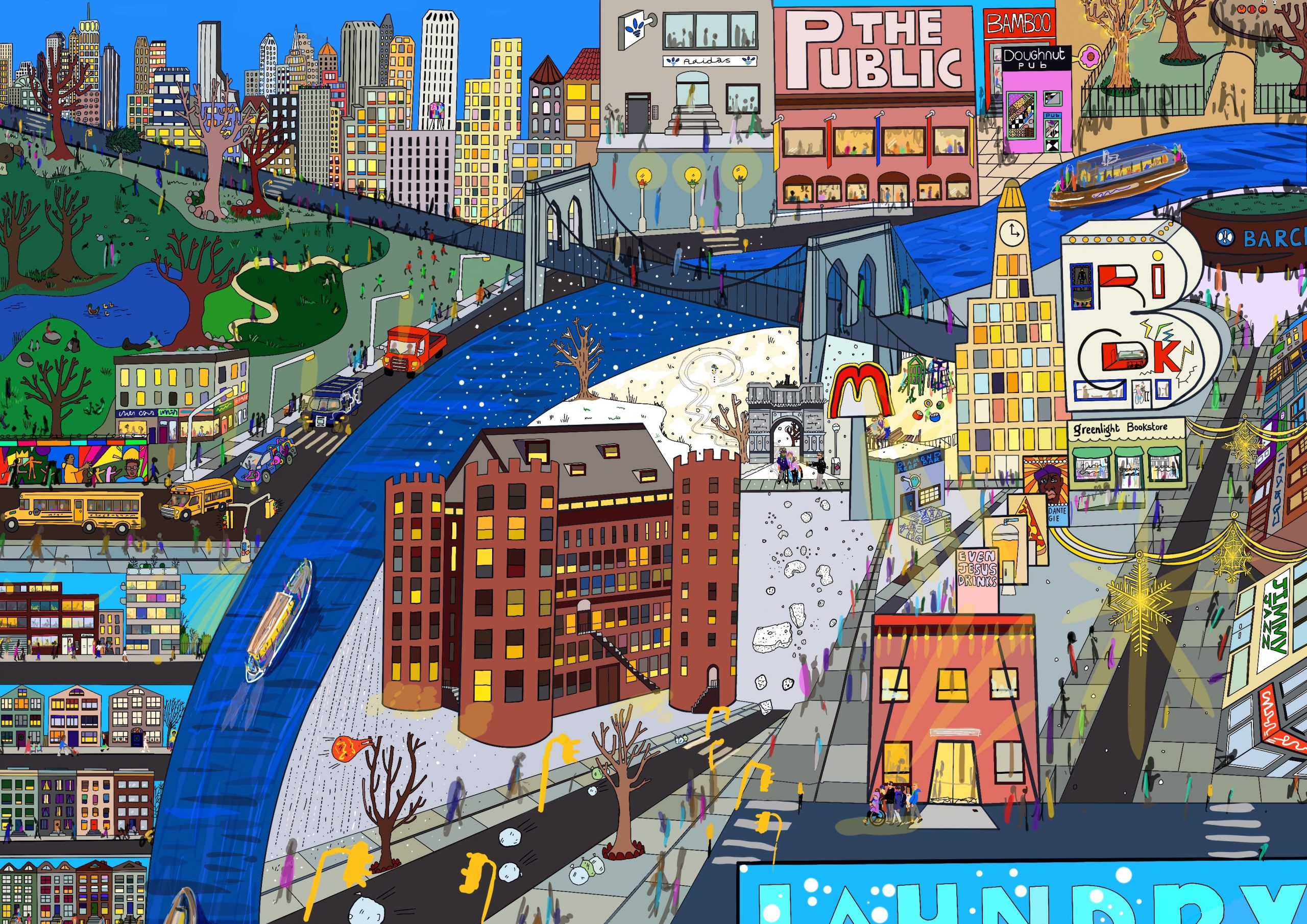 An incredibly colourful and detailed image of Brooklyn and Manhattan by Touretteshero. Bric Arts Centre, The Public Theater, The Brooklyn Bridge, the Hudson River and other landmarks of New York City.