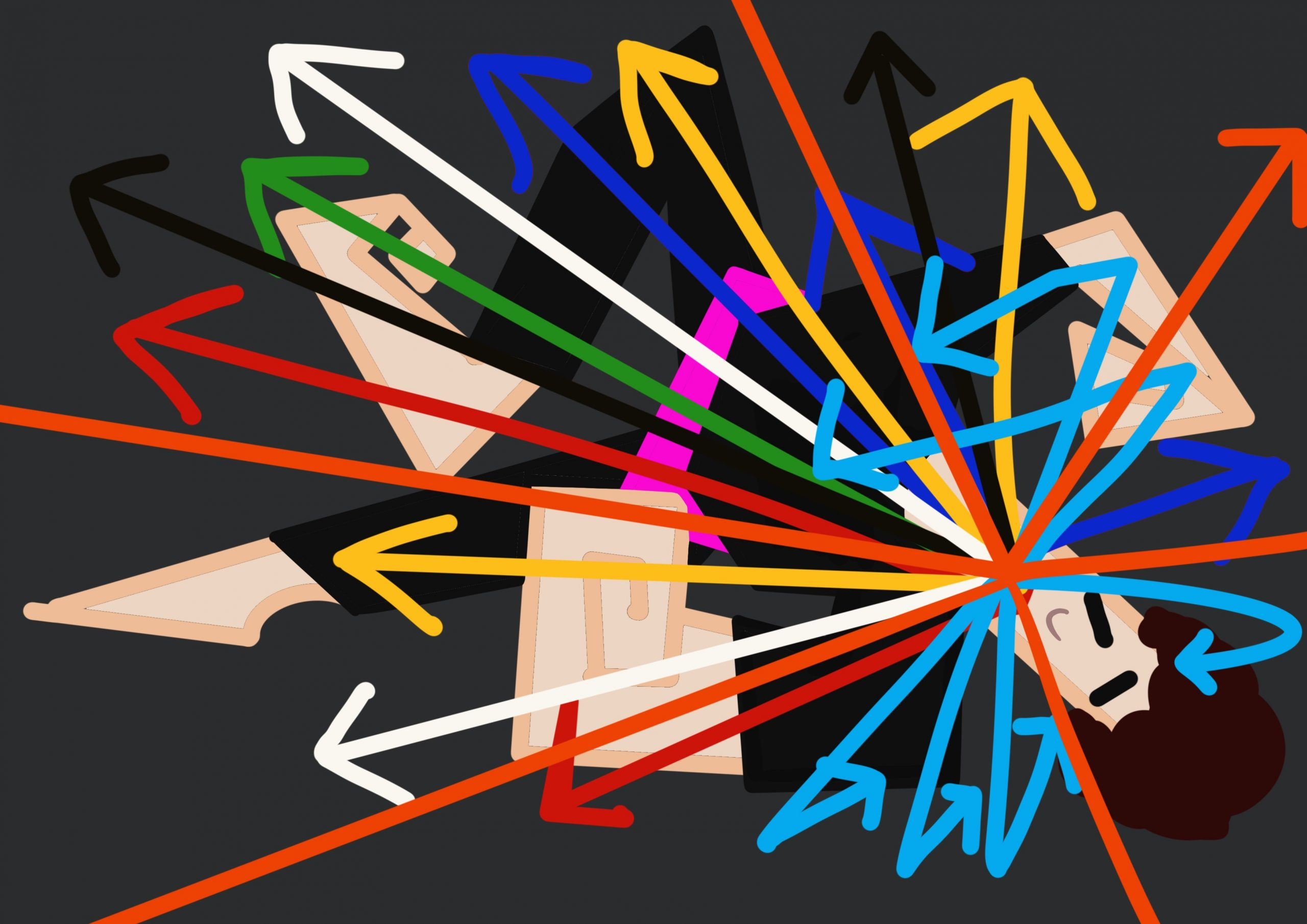 Image shows a digital drawing of Touretteshero in the midst of a ticking fit with lots of colourful arrows coming from her mouth