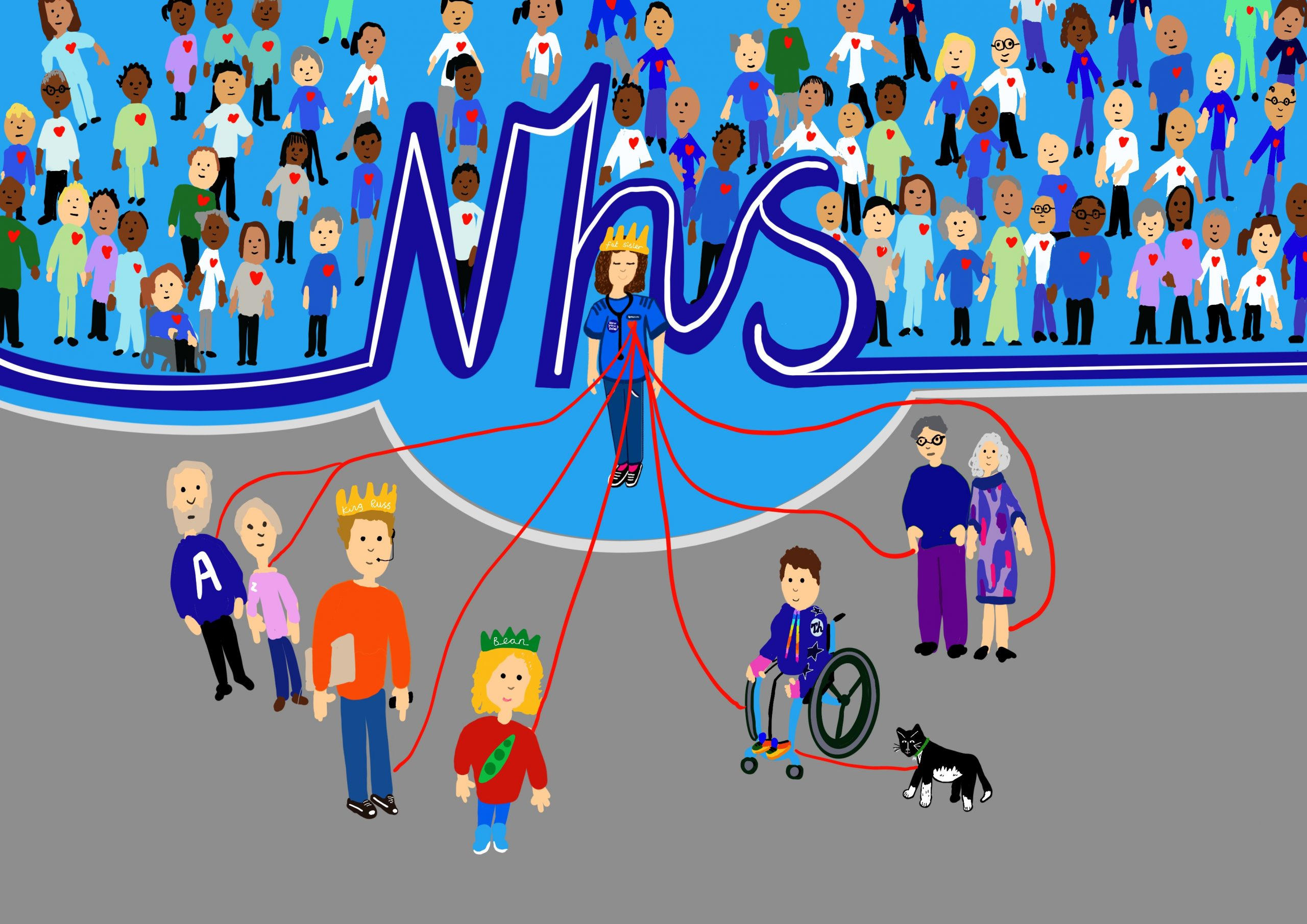 A digital painting of Fat Sister standing in front of large blue letters that spell out NHS. Red lines connect Fat sister to King Russell, Bean, Touretteshero, Monkey cat , King Russell's parents and Touretteshero and Fat Sisters' parents at the foreground of the image. Standing behind Fat Sister in the background of the image are health professionals of all backgrounds and ages.