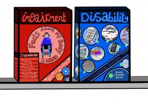 A hand drawn digital image of two rectangles, one is red titled Impairment, one is blue and titled Disability