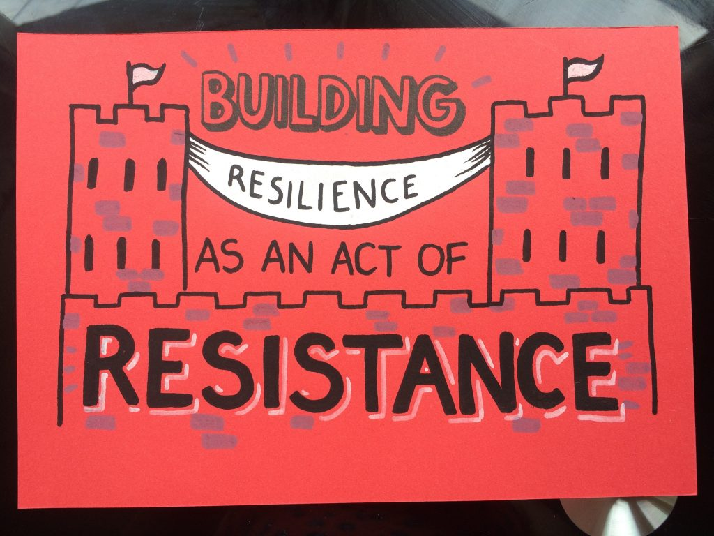 This is a red card with black writing that reads 'Building Resilience As An Act Of Resistance' the resilience is written in a white hammock that hangs between two towers.