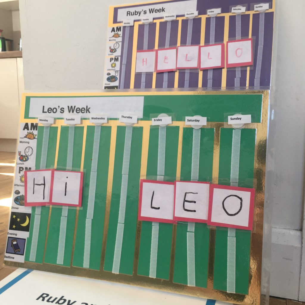 Two a photograph of two laminated cardboard calendars. They are A3 and landscape in orientation. They are similar to each other the front one is mainly green and the back one is mainly purple. They each have eight columns running vertically the one on the far left has an image and word describing different times of day: Morning, Lunch, Afternoon, Dinner, Evening, Bedtime. The other seven columns each have a day of the week at the top and then a strip of Velcro for children to put activity symbols. Either ones they make themselves, wipe clean activity cards or pre-drawn activity cards - these have velcro on the back and can be moved around the calendar.