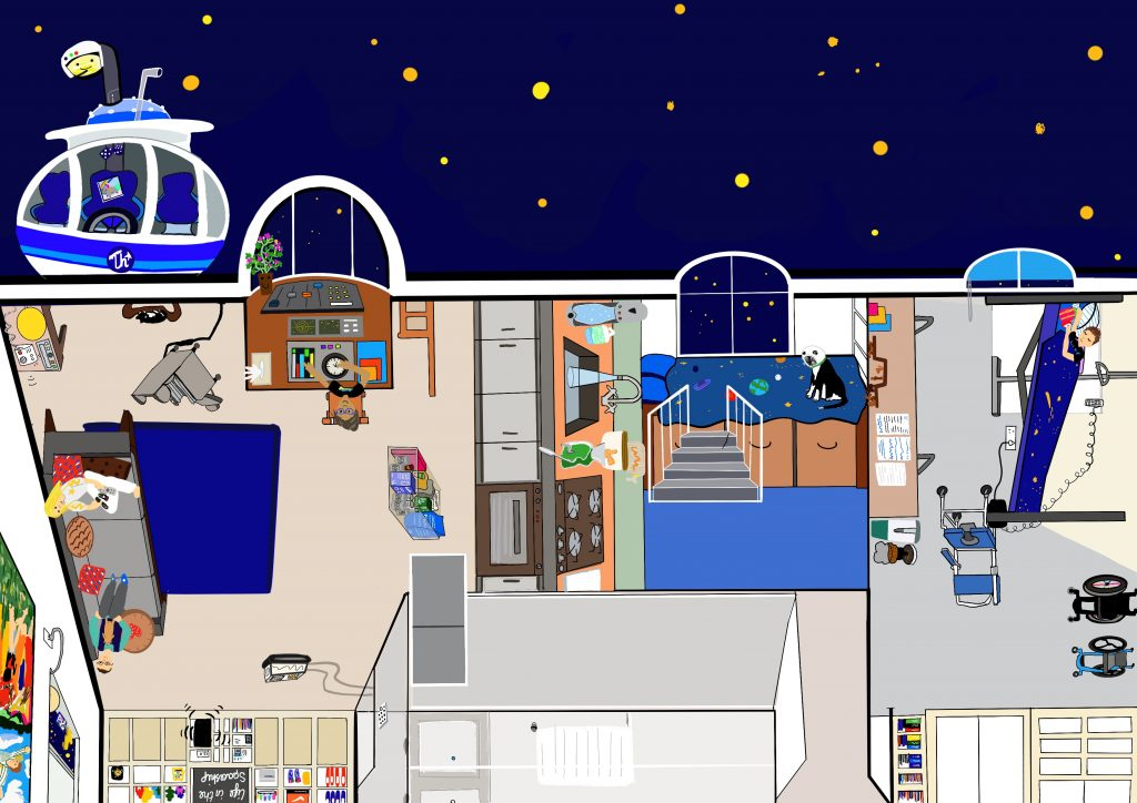 A hand drawn, digital image of Touretteshero's home usually known as the Castle as a Spaceship. The image is landscape and the top third is outside in outer space with a dark blue sky and yellow stars. There is a Touretteshero vehicle parked up on the far left hand corner and the lamppost wearing a space helmet is peaking out the sun roof. The vehicle is laden with food to take to others. Inside the spaceship are three main rooms the living area and galley on the left. The support workers room with Monkey the space cat sitting on the bed and Touretteshero is asleep in her bunk on the far left. There is a control desk with Erik at the helm and Leftwing Idiot and Claire are also relaxing in the living area.