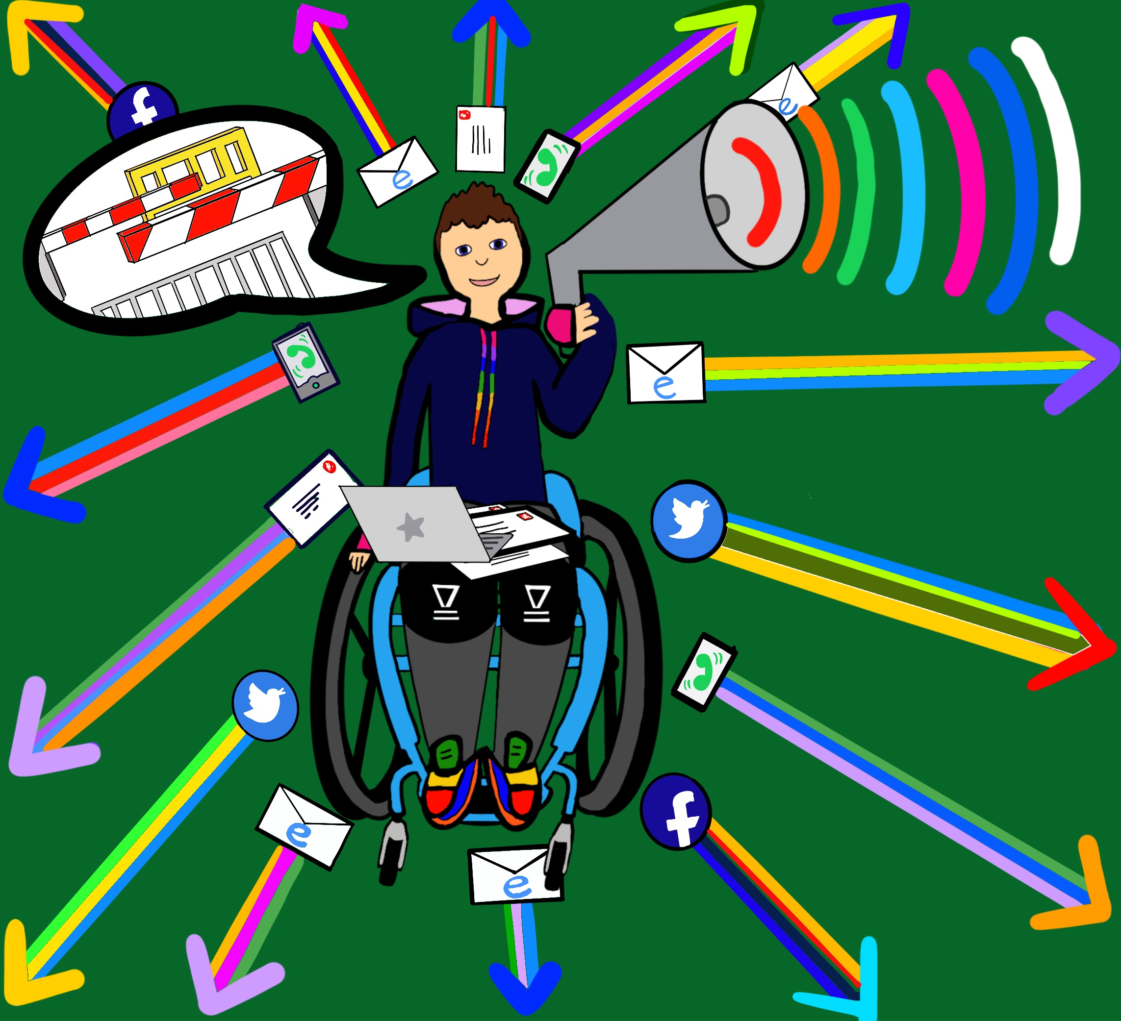 A digital drawing of Touretteshero with her computer and a stack of letters on her lap. She is holding a megaphone and is surrounded by coloured arrows shooting away from her which have various communication symbols such as WhatsApp, Twitter, email and Facebook logos attached to them.