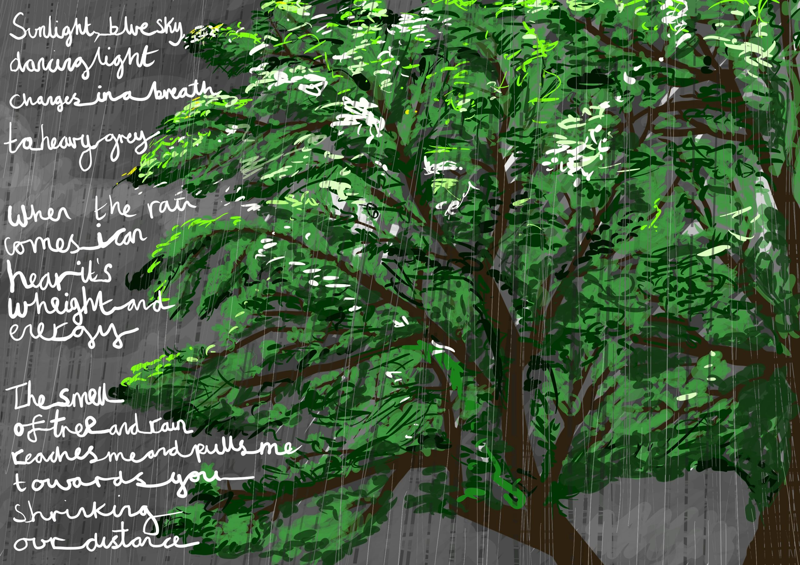 """Image shows a digital drawing by Touretteshero of one of the sycamore trees she can see from her bedroom window. The sycamore tree is a lush early summer green on a stormy evening. The sky is grey and thick with rain. It is raining heavily with the following accompanying text: """"Sunlight, blue sky, dancing shadows, it all changes in a breath to heavy grey. When the rain comes, I can hear its weight and energy. The smell of tree and rain reaches me and pulls me towards you, shrinking our distance apart."""""""