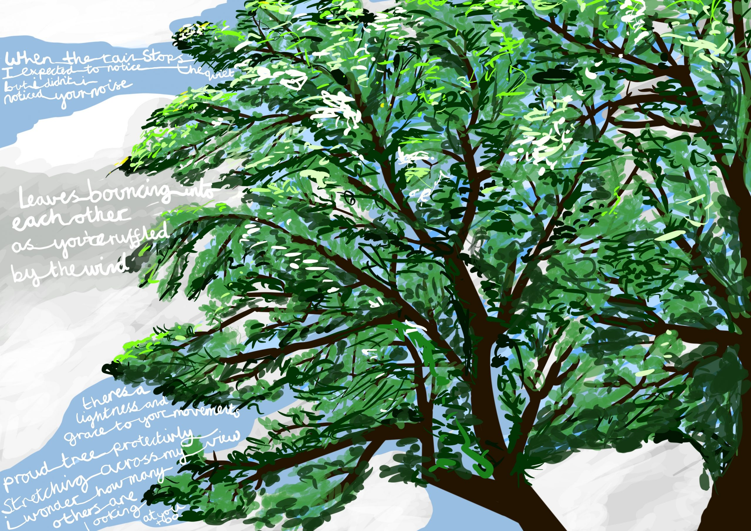 "Image shows a digital drawing by Touretteshero of one of the sycamore trees she can see from her bedroom window. The sycamore tree is a lush early summer green and the sky is cloudy with patches of blue. It is raining heavily with the following accompanying text: ""When the rain stops, I expected to notice the quiet, but I didn't, I noticed your noise. Leaves bouncing off each other as you're ruffled by the wind."""