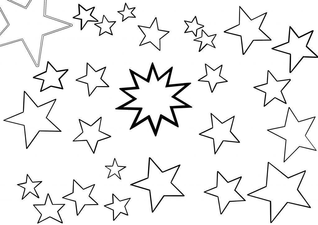 A black on white blank template for people to create their own constellations of love. At the centre is a spiky star and stars of other sizes surround it. These are blank so they can be drawn on and connected together.