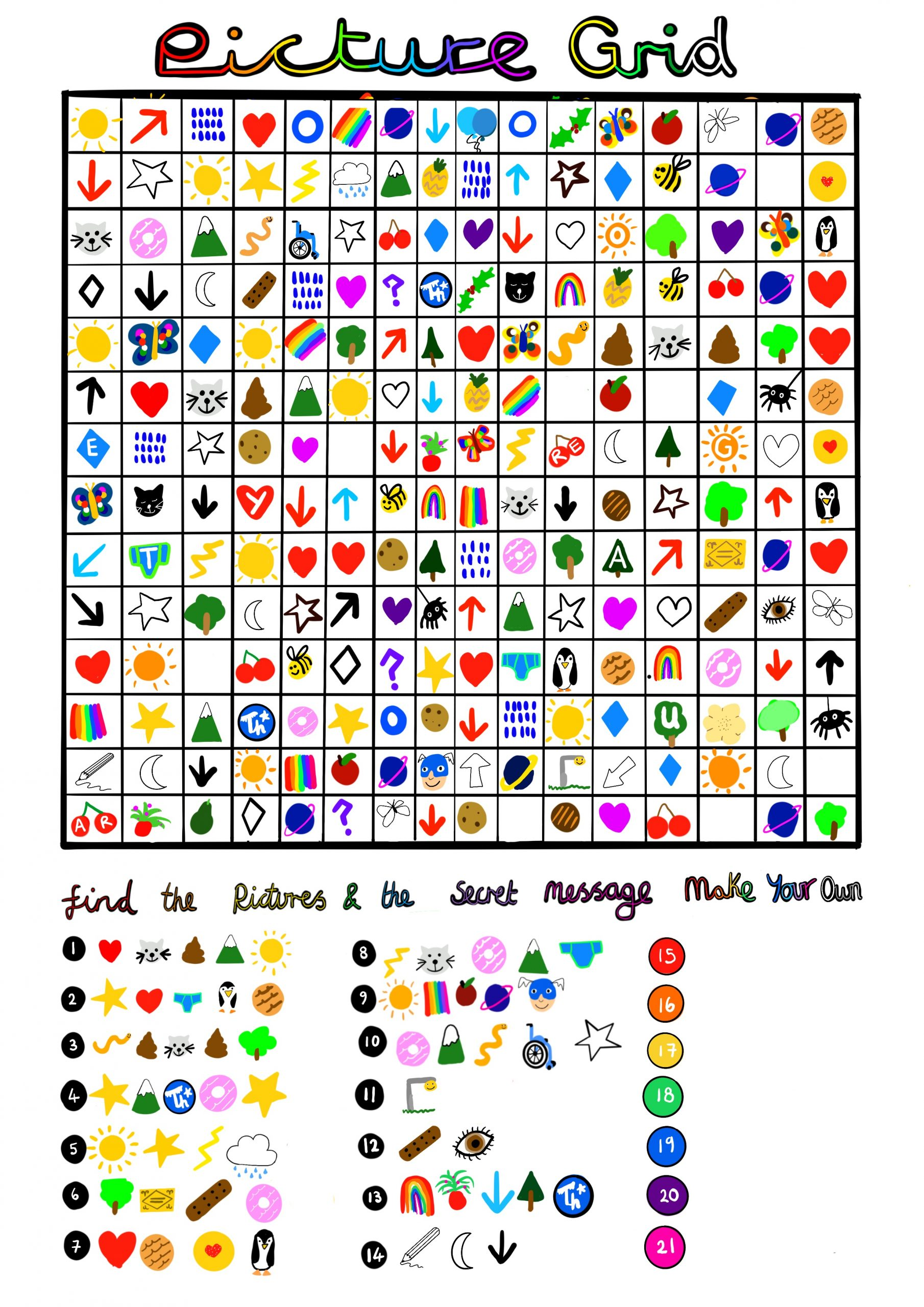 Image shows a digital drawing of Touretteshero's picture grid she made for Ruby, Leo and Laura. It is a colourful 16 square x 14 square grid containing drawings in every square such as a mountain, a snake, a wheelchair, a rainbow, a lightning bolt. At the bottom is a secret message waiting to solved