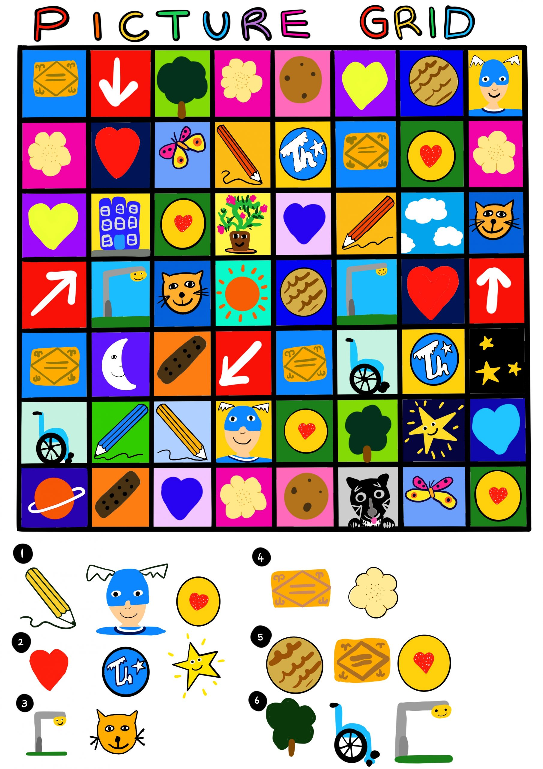 Image shows a digital drawing of a simplified version of Touretteshero's Picture Grid Search. Image shows a 8 square x 7 square grid with each different coloured square containing a drawing from something related to Biscuit land such as the lamp post, a biscuit, a wheelchair and a geranium. At the bottom is a secret message waiting to solved.