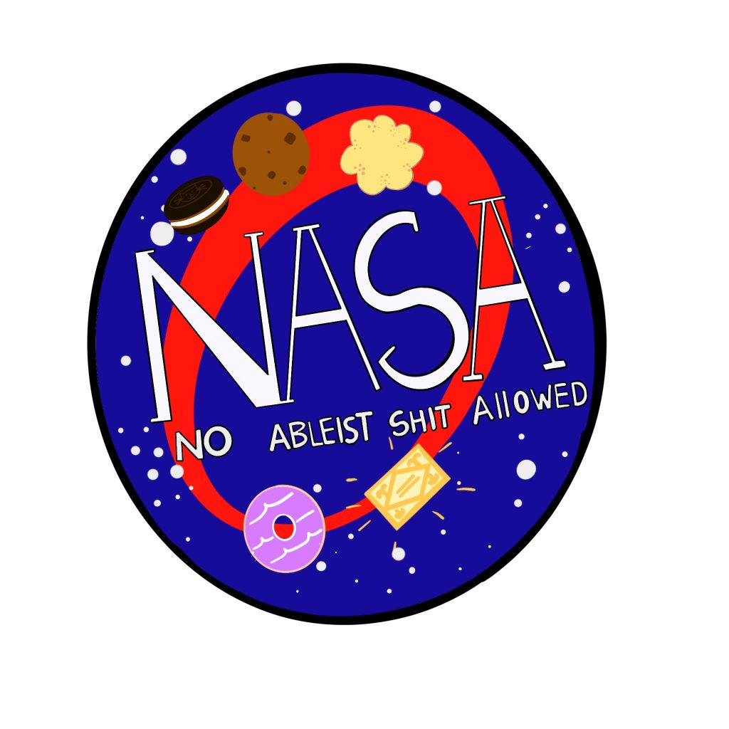 The image shows a digital drawing of an imitation red and navy NASA logo which stands for 'No Ableist Shit Allowed' Biscuits such as a party ring, a custard cream and a cookie adorn the logo.