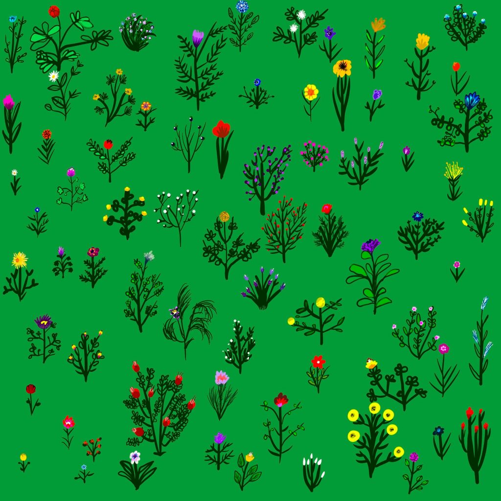 A hand drawn digital image on a green background showing 72 flowers in blooms of different sizes and colours. This is an image created in memory and celebration of the 72 people killed in the Grenfell Tower fire in 2017. This image marks the third anniversary of the fire.