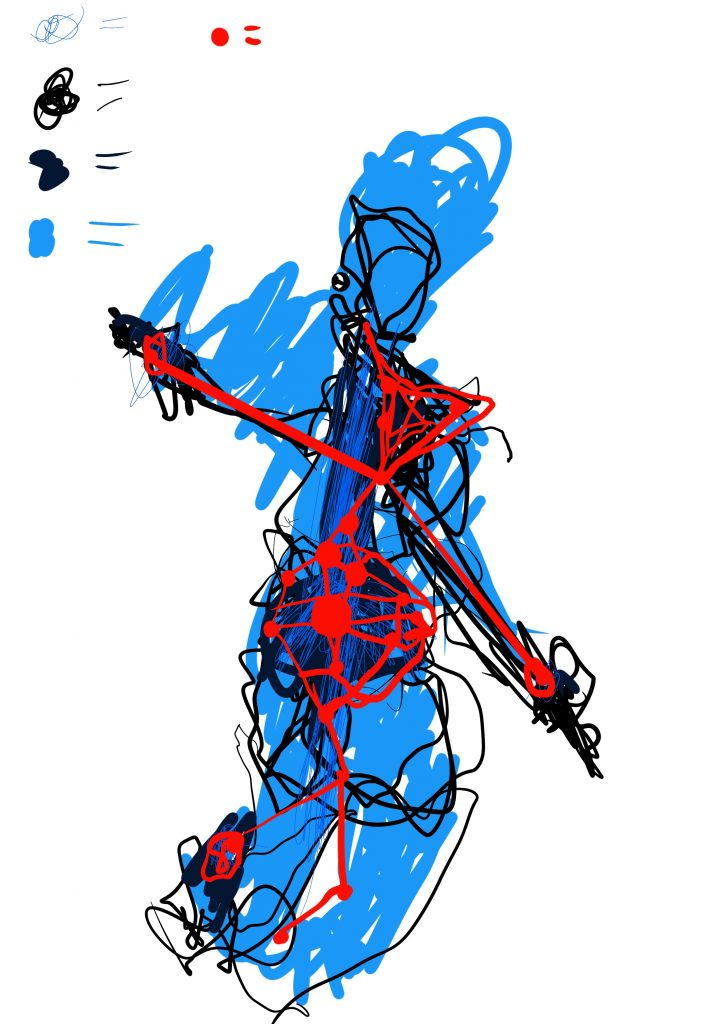 A digital drawing. The central image is of a human shaped figure, roughly drawn with pale blue. Overlaid is a dark thin scribbled and smeared black line covering the head, torso, arms and down into the legs. On top of that is a thin blue scribbled line running down the middle. On top of that is a red webbing, which intensifies around the stomach and has strong red dots in it. At the top on the left is a colour key, showing the different colours used, all with an = sign next to them but the key is incomplete.