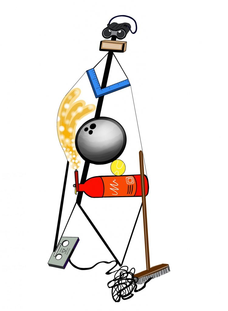 A digital drawing of a figure, made up of household objects including binoculars, a set square, a bowling ball, a tennis ball, a fire extinguisher, a cassette tape, and a broomstick.