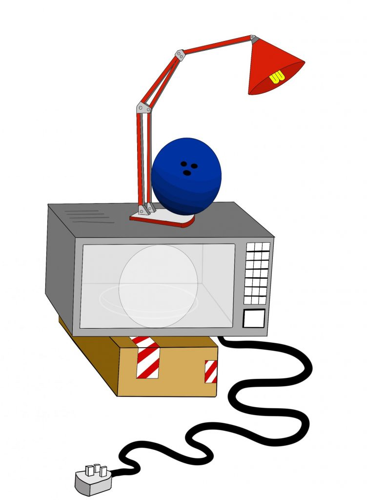 A digital drawing of an unplugged microwave, sitting atop a brown cardboard box with red and white tape on it. On top of the microwave is a red desk lamp which in turn has a blue bowling ball balancing on it.
