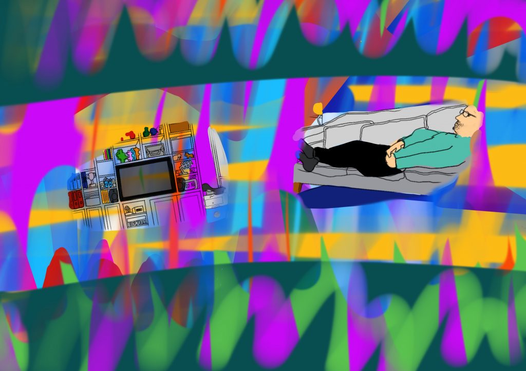 A digital drawing showing the view from Touretteshero's chair in living room at home in South London. There is a band of bright streaks of colour across the image, fading to duller colours towards the edges. There are two gaps in the colours like lenses in glasses, and through the right lens you can see Leftwing Idiot who is lying on the sofa. He is wearing glasses, a green jumper, black trousers and grey socks with blue toes. Through the left glens you can see the bookcase and TV, with books and nick nacks.
