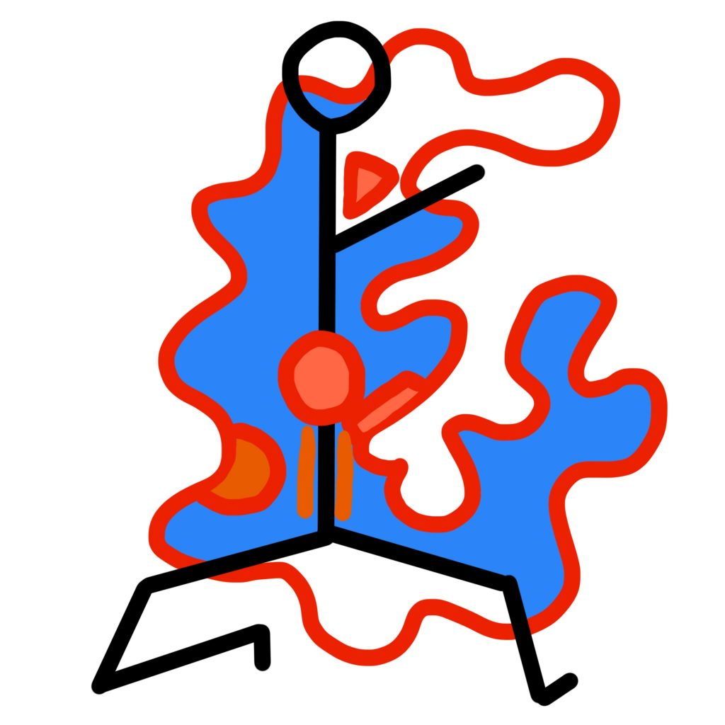 A digital drawing showing a black stick figure. Behind the figure is a squiggly red shape, almost like a capital E. Parts of this are coloured in blue and orange. On top of the figure in the middle of the torso is one red circle, with a lighter red centre.