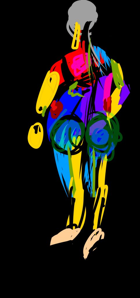 This is a digital drawing of a body from the back. The body is filled with lots of different colours, the arms and legs are yellow and black. The thighs have streaks of light blue and green. The back is red, pink, purple, blue and black, and there are dark green circles around the buttocks.
