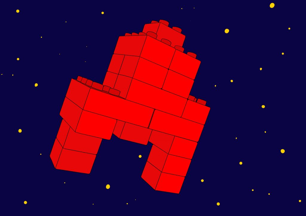 This is a digital drawing of a shape constructed by Duplo. The Duplo blocks are a deep red, and the background looks like a blue night sky with small bright dots in the distance.