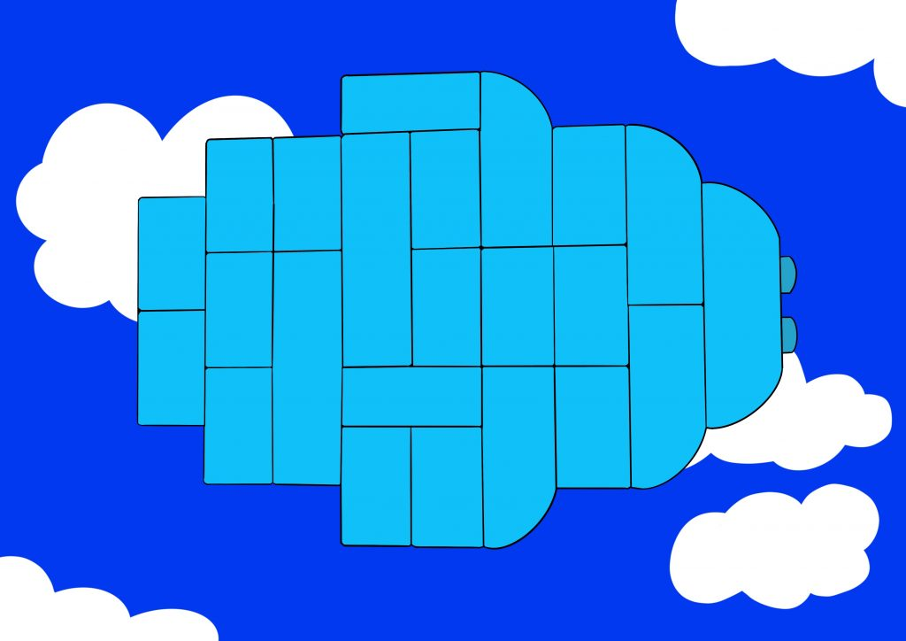 This is a digital drawing of a shape constructed by Duplo. The Duplo blocks are a light blue colour and the background looks like a bright daytime sky, with a blue background interrupted by white fluffy clouds.