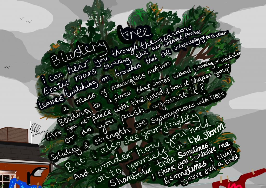 The image is of a large tree in the foreground, with green and brown leaves. Across the top of the tree in white handwritten writing is the text of the poem outlined below in the blog post.