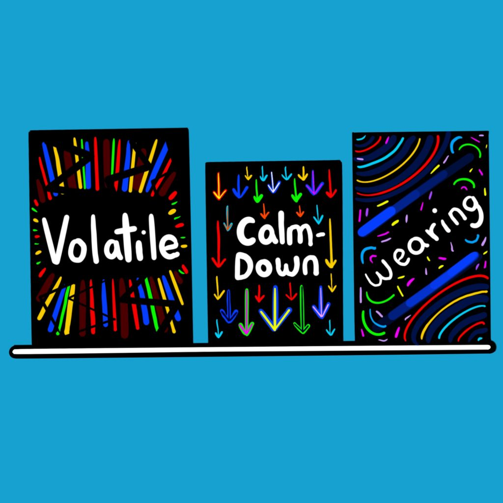 The image shows a blue wall with a white shelf suspended in the middle of it. On the shelf are three black boxes with colourful streaks, arrows and swirls. On them are written the words volatile, calm down and wearing.