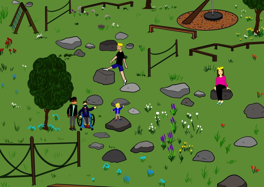 A digital drawing showing a park scene with trees, balancing beams and rocks as stepping stones. Five figures are depicted in the scene - one of these is a child balancing on the rock, her parents are also playing nearby. Touretteshero - Jess Thom is depicted in her wheelchair with her PA at her side both are wearing masks.