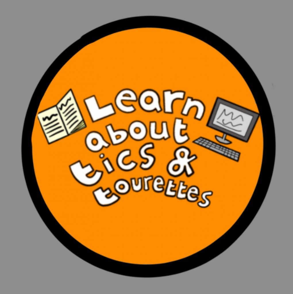 A digital hand drawn image - a orange circle with white lettering that reads Learn about tics and Tourettes. There are small drawings of a book and a computer as part of the image