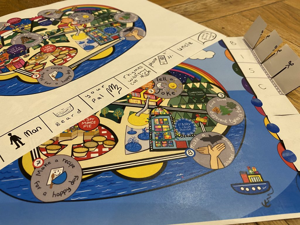A photo showing Touretteshero's festive treasure map with two different examples of how clues could be added - letters to make a secret word or visual or written clues as to where to look.