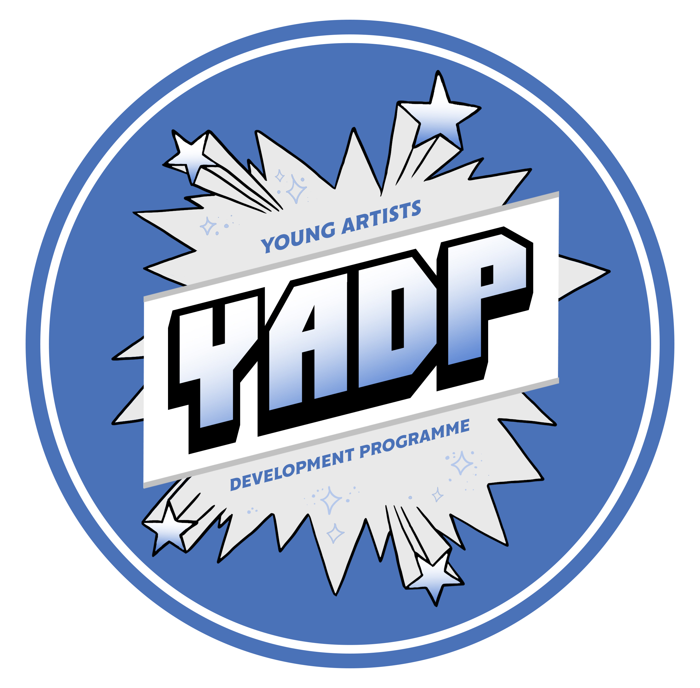 A silver and blue round logo for Touretteshero's Young Artist's Development Programme Logo. The abbreviation YADP sits in the centre of a comic book style jagged bubble with stars coming from each corner.