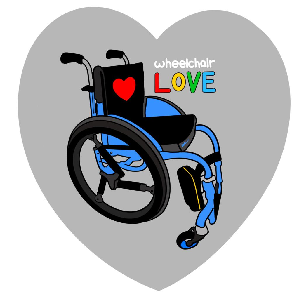 A drawing of a blue wheelchair with a red love heart on the back seat. The words wheelchair love are written in different colours. The whole image is set against the backdrop of a grey heart shape.