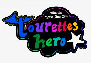 A hand drawn version of the the Touretteshero logo that reads there's more than one Touretteshero. Touretteshero is written in rainbow letters, a white star sits at a jaunty angle on the far right and the T of Touretteshero has wings.