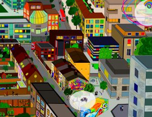 """A digital drawing by Touretteshero of a birds eye view of a bright Friday evening scene in South London. In the foreground, spotlit in front of a colourful mural on the side of a house that reads """"Nothing About Us Without Us"""" are Touretteshero & Claire who are stopped, chatting to a group of teenagers in their school uniforms."""