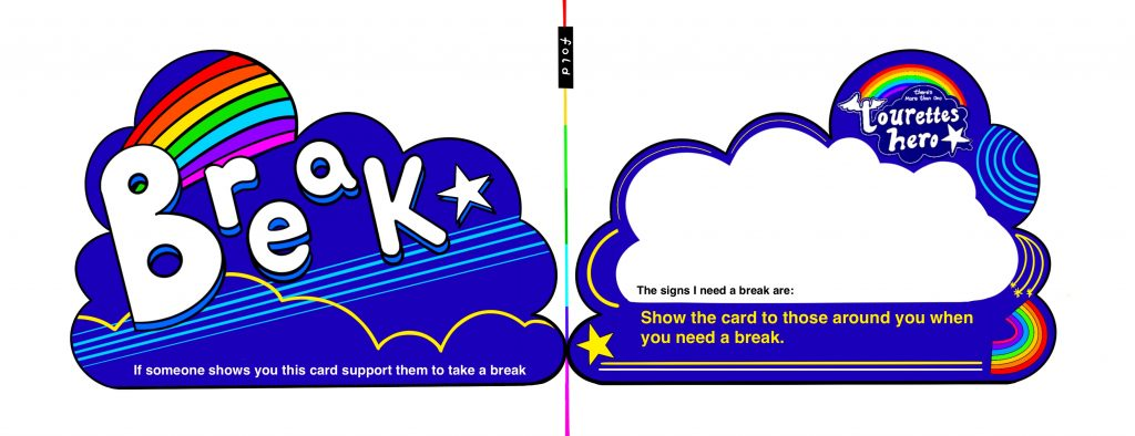 """This is a hand drawn digital image. It is made up of two cloud shape cards that can be folded to give a front and back. The left hand side of the card has the work break written across it in large bubble writing. It is surrounded by stars and rainbow. Underneath text reads: """"If someone shows you this card support them to take a break"""". The right hand side of the card has space to write or draw the signs you need a break and reminds the user they can show the card to those around them if they need support to take a break."""