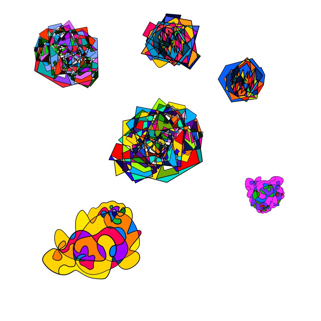 A digital drawing by Touretteshero of seven geometrical multi-coloured shapes of varying sizes and colours. Two of the shapes have curved globular forms and the other four have sharper jagged lines.