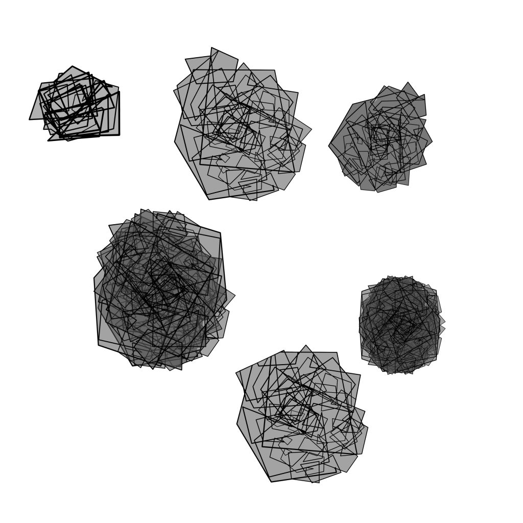 A drawing by Touretteshero of six grey abstract shapes with lots of black geometrical lines overlayed on top. Some of the shapes have thick dense lines and some have thinner lines. Three of the shapes are small and the other three are larger.