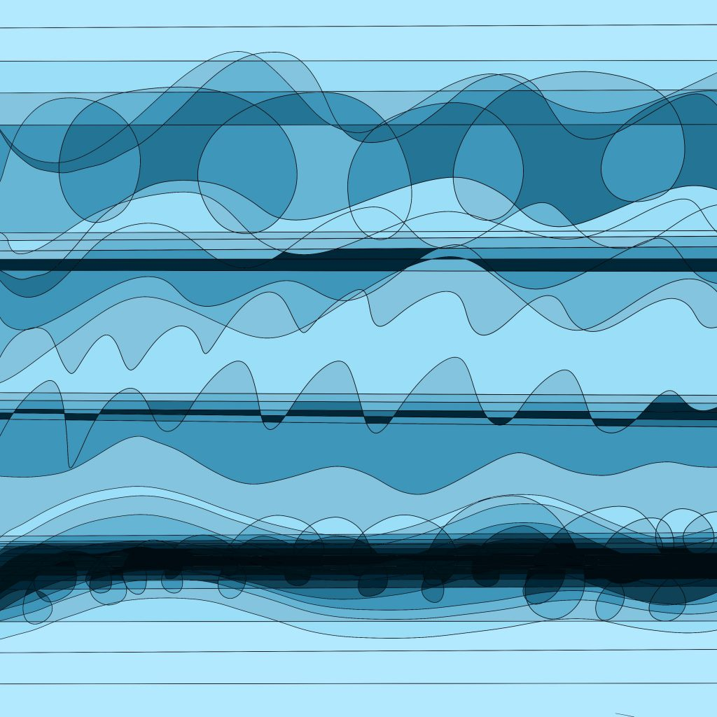 A digital drawing by Touretteshero of wavy abstract shapes and lines. The waves are different shades of blue with three black lines of varying thicknesses running horizontally across the drawing.